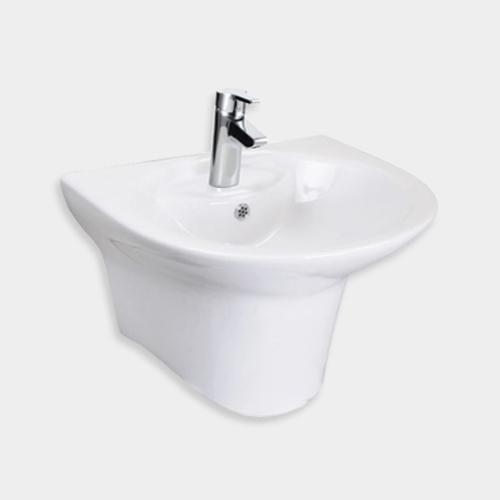 [C136100L-6DAKM70D] 파티오 라운드 욕실 반다리 일체형 세면대